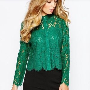 a221d43452418e Elegant Green lace long sleeve button down shirt